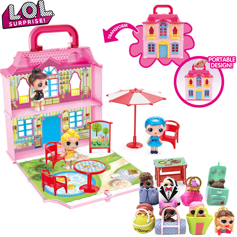 LOL Surprise Dolls Toy Set Girls Play House Games Simulation Villa Castle with 3 Doll Model Kids Toys for Girls Birthday Gifts