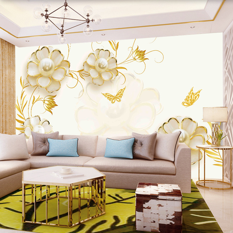 Customizable TV Backdrop Wallpaper 3D Living Room Film And Television Wall Cloth European Style 5D Mural Imitation Jewellery Ros