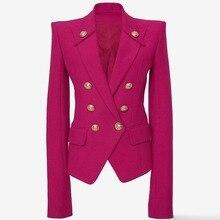 Red Double Breasted Blazer Women Office Formal Mental Buttons Blazer Plus Big Size Women Blazers Drop Ship Black