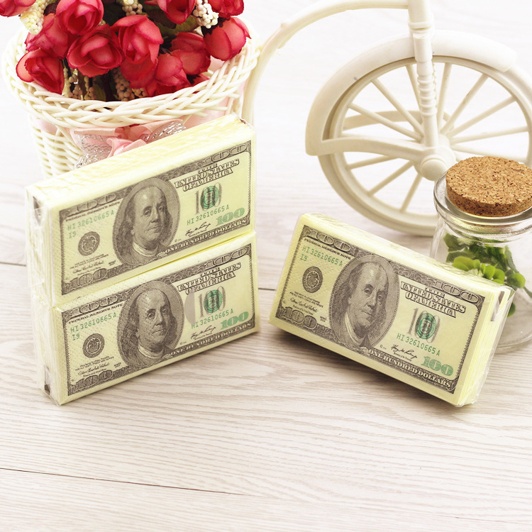 Novelty <font><b>Dollar</b></font> <font><b>Bill</b></font> Towel <font><b>100</b></font> <font><b>Dollars</b></font> Napkin Tissue Napkins Tissues Funny Toilet Paper - $<font><b>100</b></font> <font><b>Bills</b></font> Creative Tricks Comfort image