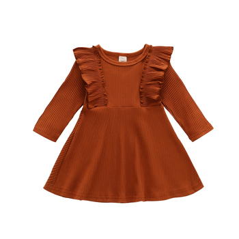 1-6T Toddler kid Baby Girl Clothes Casual Plain Ruffles Dress Elegant Long Sleeve Stretch Dresses Cute Sweet Outfit