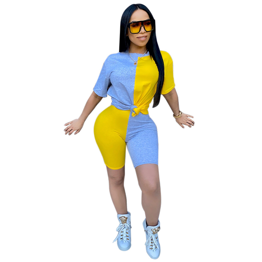 2020 Women Sets Summer Tracksuits Patchwork Sportswear Tops + Shorts Two Piece Suit Set Club Party Street 2 Pieces Sexy Outfits 5