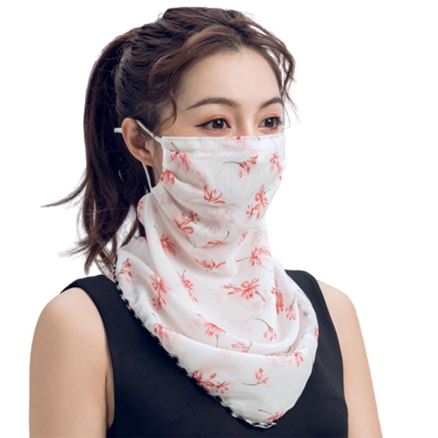 Rose Flower Women Summer Chiffon Anti-UV Thin Scarf Neck Face Cover Shawl face-mask protection 2