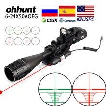 Ohhunt 6 24x50 aoeg hunitng combo riflescope fio retículo com vermelho/verde mira laser e pontos vermelhos pontos ópticos táticos