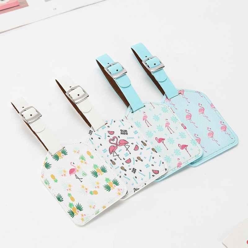 PU Leder Druck Koffer Flamingo Gepäck Tag Label Tasche Anhänger Handtasche Reise Zubehör Name ID Adresse Tags