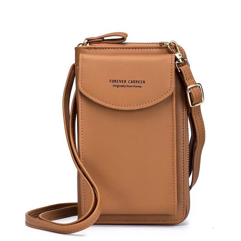 2021 Women Wallet Shoulder Mini Leather Bags Straps Mobile Phone Big Card Holders Wallet Handbag Money Pockets Girls Small Bags