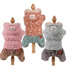 цена на Winter Overalls for Dogs Star Corduroy Fleece Dog Jumpsuit Teddy Warm Dog Clothes XS S M L XL
