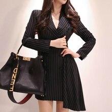 2019 Autumn Black Blazer Dress Women Double Button Mini Casual Dresses Long Sleeve Print Striped Asymmetrical Office