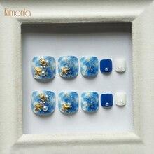 24Pcs/box Artificial False Toe Nails Fashion Glitter Sky Blue Toenail Tips French Shiny Lady Nail Art For Foot