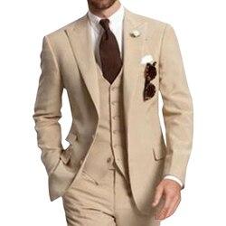 Бежевые вечерние костюмы из трех предметов для мужчин на двух пуговицах, смокинги для жениха на свадьбу, пиджак, брюки, жилет, 2019
