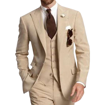 Beige Three Piece Business Party Best Men Suits Peaked Lapel Two Button Custom Made Wedding Groom Tuxedos 2020 Jacket Pants Vest