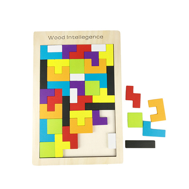 3D Wooden Puzzles Toys Jigsaw Board Toys Montessori Tangram Tetris Cubes Brain Teaser Children Toys Game Educational Baby Gifts