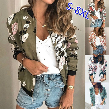 Womens Jackets Fashion Retro Floral Print Jacket Coat 2020 Autumn Winter Casual Zipper Up Bomber Outwear Coats Women Clothing jaycosin women jackets coats autumn winter fashion slim long sleeve leather coat short jacket with pockets casual outwear 1011