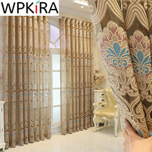 Gold Hollow Geometric Embroidered Voile Curtains for Living room Europe Villa Bedroom Glass Door Window Screen Jacquard Drapes E