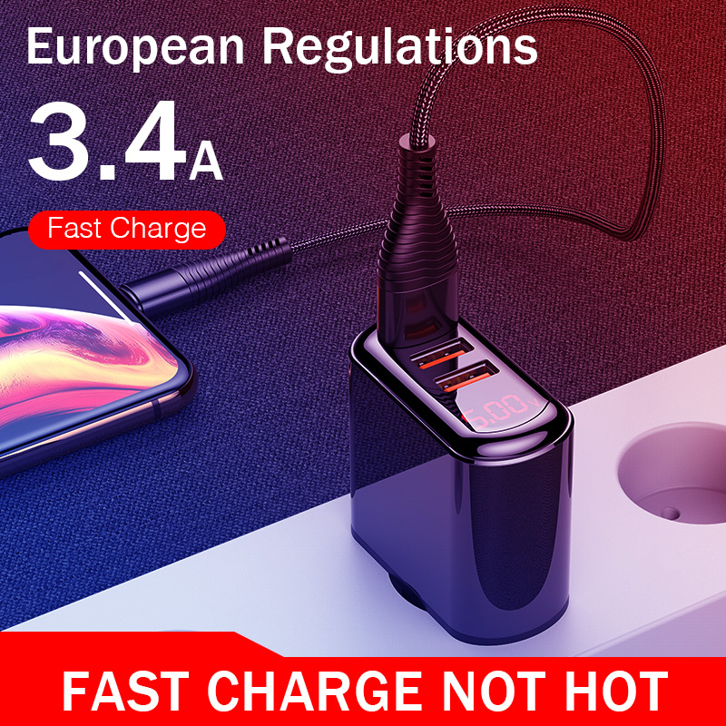 Image 5 - YKZ LED USB Charger 3.4A Fast Charge EU Wall Plug Adapter For iPhone Samsung Xiaomi Huawei Portable Mobile Phone Fast Charging on
