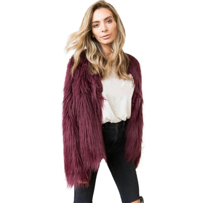 2019 New Coat Women Faux Fur Fashion Long Sleeve Clothes Fourrure Femme Plus Size S-6XL Warm