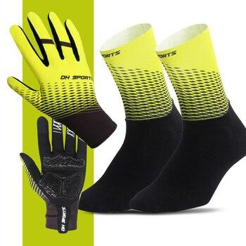 1 par de luvas de ciclismo de dedo completo com 1 par de meias de ciclismo das mulheres dos homens anti-deslizamento luvas de bicicleta esportiva meias conjunto 1