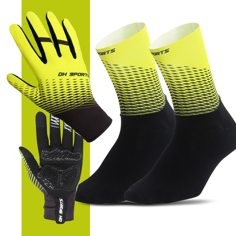 1Pair Full Finger Cycling Gloves With 1Pair Cycling Socks  Men Women Anti-slip Sports Bike Mittens Bicycle Gloves Sock Set