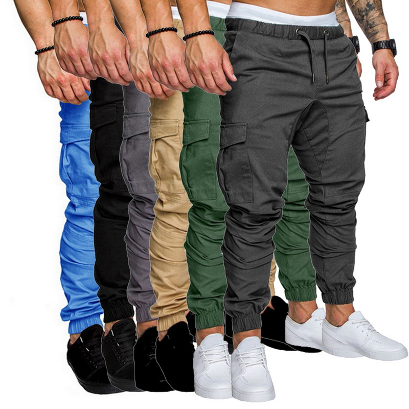 Casual Pants Trousers Loose Multi-Pocket Jogger Hip-Hop Male Men's Autumn Solid title=