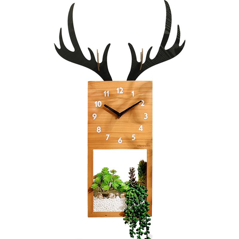 Creative Large Wall Clock Wood Green Plant Nordic Deer Wall Decoration Living Room Silent Bedroom Klokken Wandklokken Gift SC634