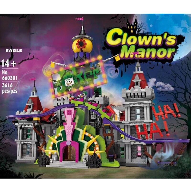 Lepining Creator Expert City Street View MOC The Joker Manor Park 3329pcs Model Building Blocks Bricks Gift Toys For Children
