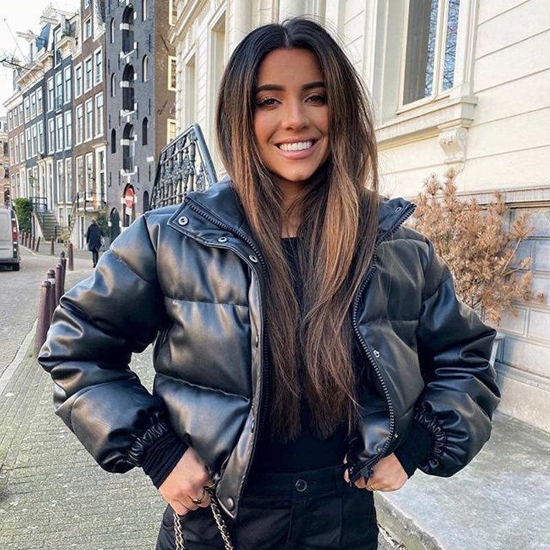 Giacca invernale da donna spessa calda Parka corto cappotti in pelle Pu nera Parka donna elegante cerniera giacche in cotone cappotto donna nuovo 1