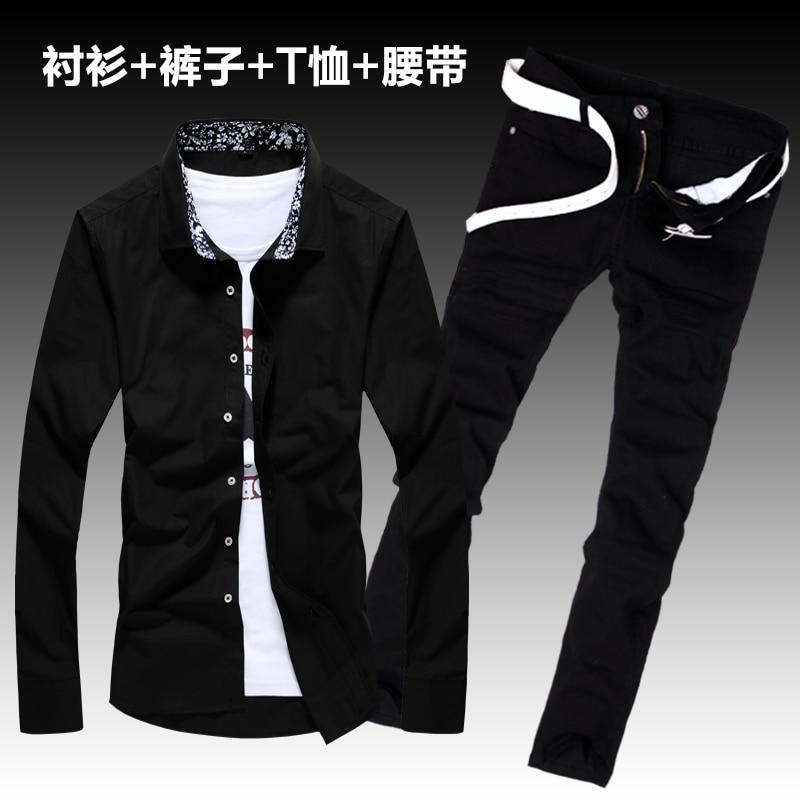 Autumn Men's Long Sleeve Cotton Shirt Jeans Pants 2pcs Set Slim Fit Cool Boys Shirts Trousers Set Lapel Collar Shirt E6