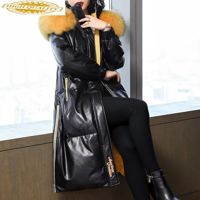 Winter Genuine Leather Jacket Women Sheepskin Coat Long Duck Down Jackets Fox Fur Hooded Warm 2020 MFCM7253 KJ3695