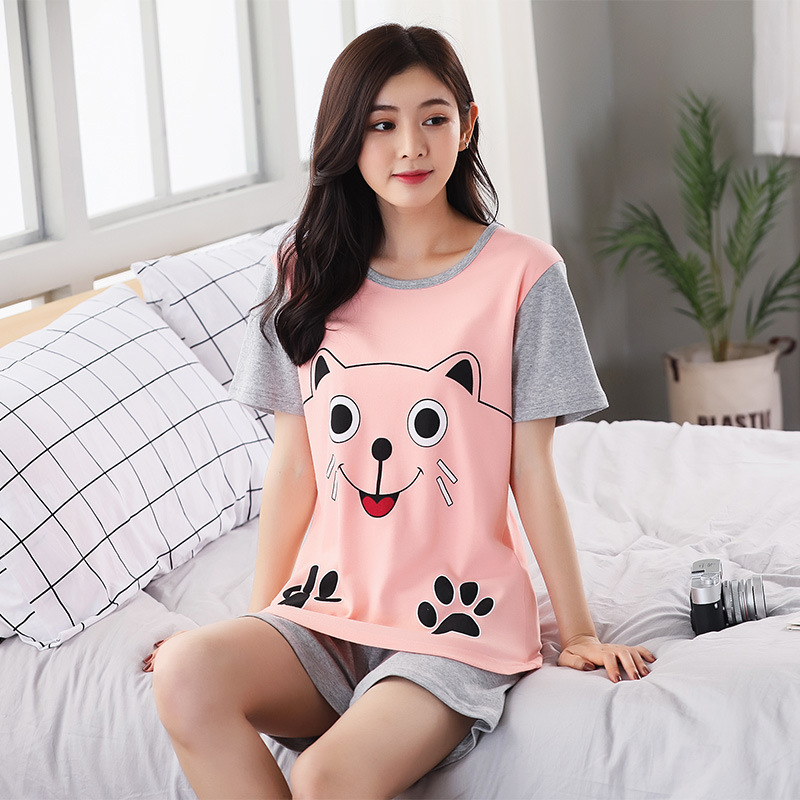 New Products Spring Summer Korean Style Women's Short Sleeve Pajamas Cartoon Sweet Cute Women's Crew Neck Pullover Homewear Set