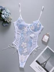Floral bordado ursinhos bodysuit feminino push up rendas lingerie exóticas sexy cinta de espaguete babydoll transparente bodysuits