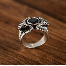 925 sterling silver retro Thai silver trend men's python ring domineering snake head eye ring 925 sterling silver jewelry vintage thai silver faucet ring domineering personality fashion ring