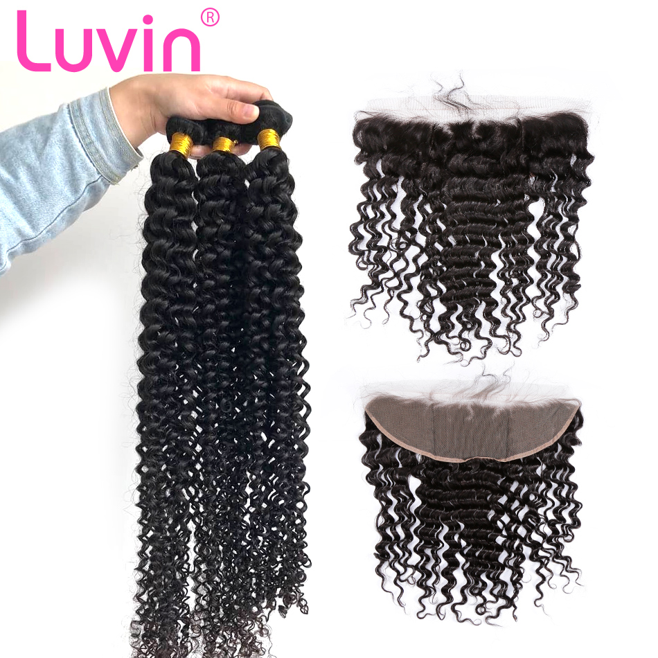 Luvin 28 30 Inch Brazilian Hair Weave 3 4 Bundles With 13x4 Lace Frontal Closure Remy Deep Wave 100% Human Hair Double Drawn
