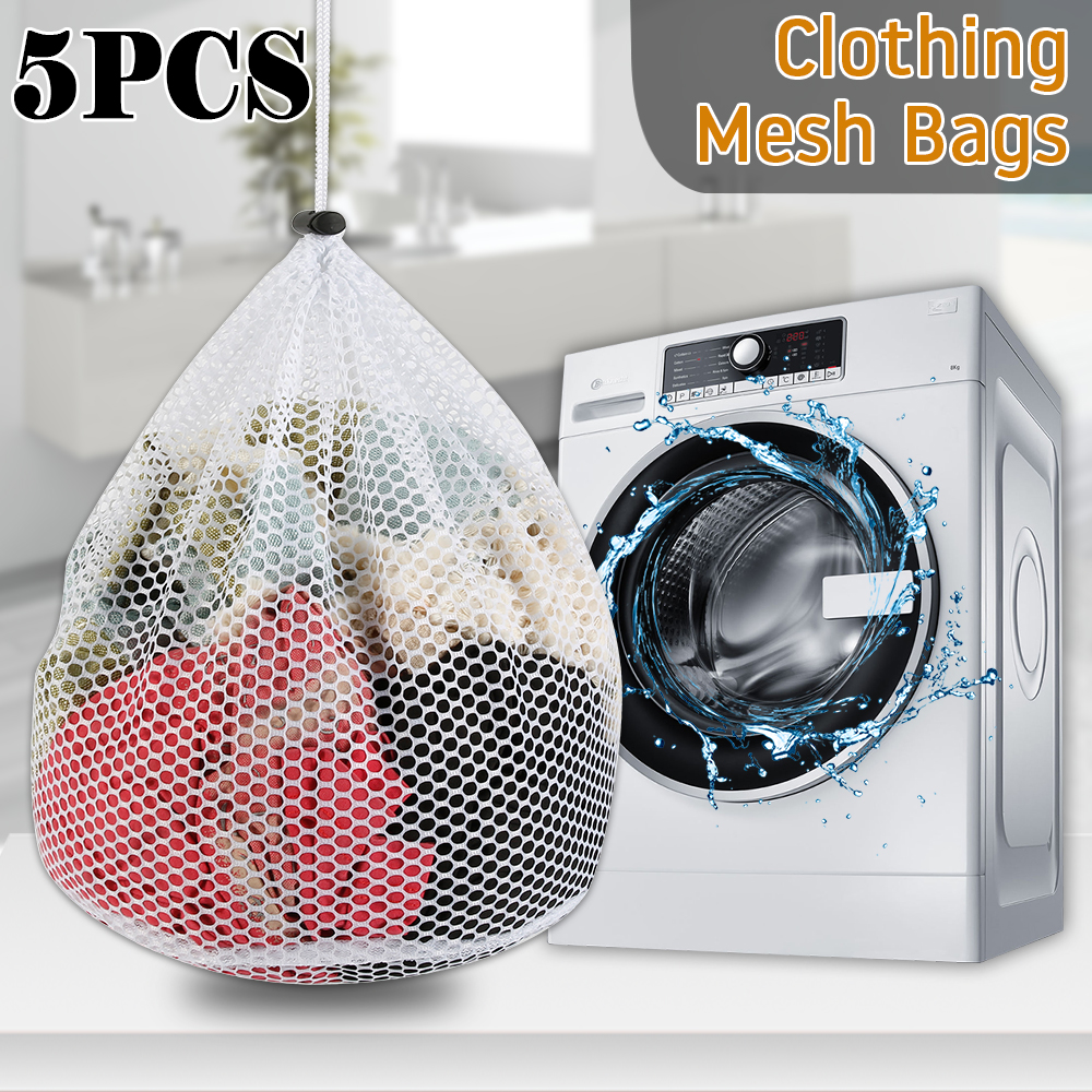 5PCS Washing Laundry Bag Clothing Care Foldable Protection Net Filter Underwear Bra Socks Underwear Washing Machine Clothes