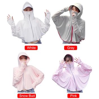 Letni krem przeciwsłoneczny kobiety UV długi płaszcz z rękawami osłona przeciwsłoneczna lodowy jedwab odzież wygodna oddychająca odzież chroniąca przed słońcem tanie i dobre opinie CN (pochodzenie) Dobrze pasuje do rozmiaru wybierz swój normalny rozmiar Dziewczyny