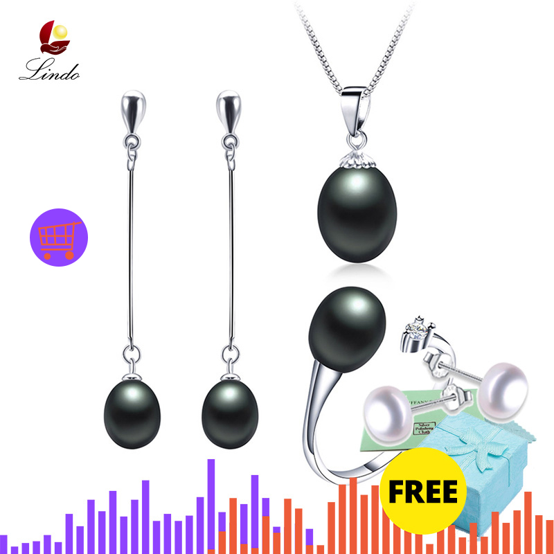 2019 Hot selling Black Pearl Jewelry sets Fashion 925 sterling silver jewelry for women wedding party Innrech Market.com