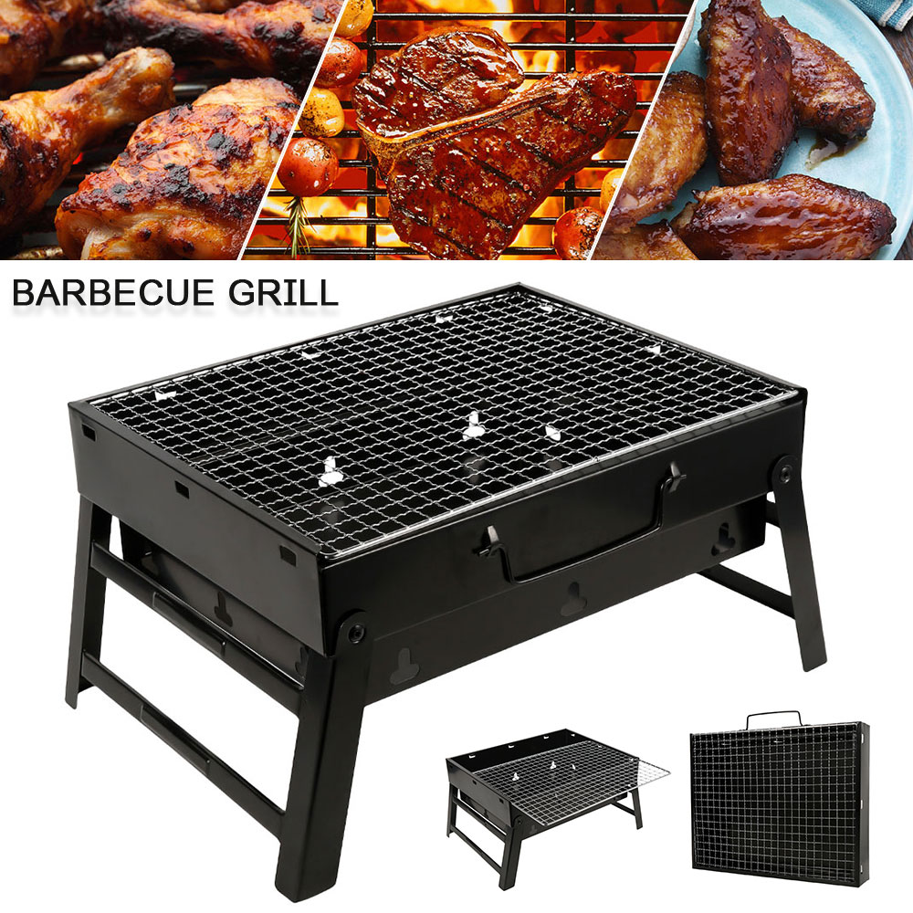 Folding BBQ Grill Portable Compact Charcoal Barbecue BBQ Grill Cooker Bars  Smoker Outdoor Camping 35x27x6cm – Season Central