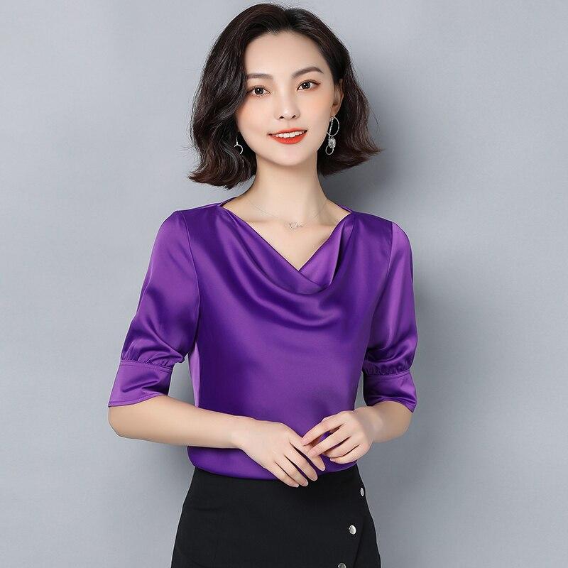 Korean Silk Blouses Women Sartin Blouse Shirts Women Solid V Neck Blouse Tops Plus Size Blusas Mujer De Moda 2020 Womens Tops