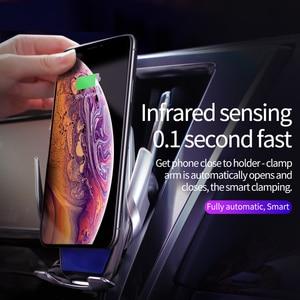 Image 4 - HOCO Qi chargeur de voiture sans fil pince infrarouge automatique prise dair support de téléphone de voiture Surface en verre 15W chargeur rapide pour iPhone X