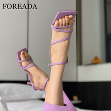 FOREADA Real Leather Woman Sandals Thin Mid Heel Shoes Buckl