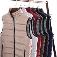 2018 Casual Vest Men Winter Sleeveless Jackets Male New Fashion Style Solid Waistcoat Men's Autumn Warm Outwear Plus Size