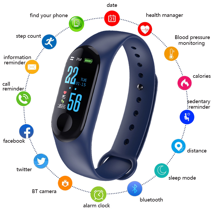 Smart Bracelet Watch M3 Children Watches Pedometer LED Digital Kids Sports Watch For Boys Girls Gifts Electronic Silicone Clock