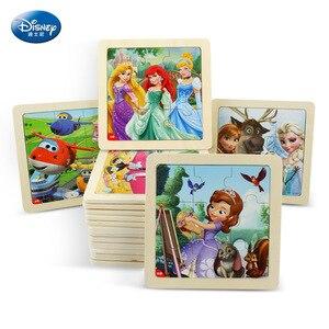 9 sztuk Disney Mickey Mouse Puzzle kubuś dzieci drewniane zabawki zabawki edukacyjne dla dzieci drewniane Puzzle dla dzieci wczesne zabawki edukacyjne