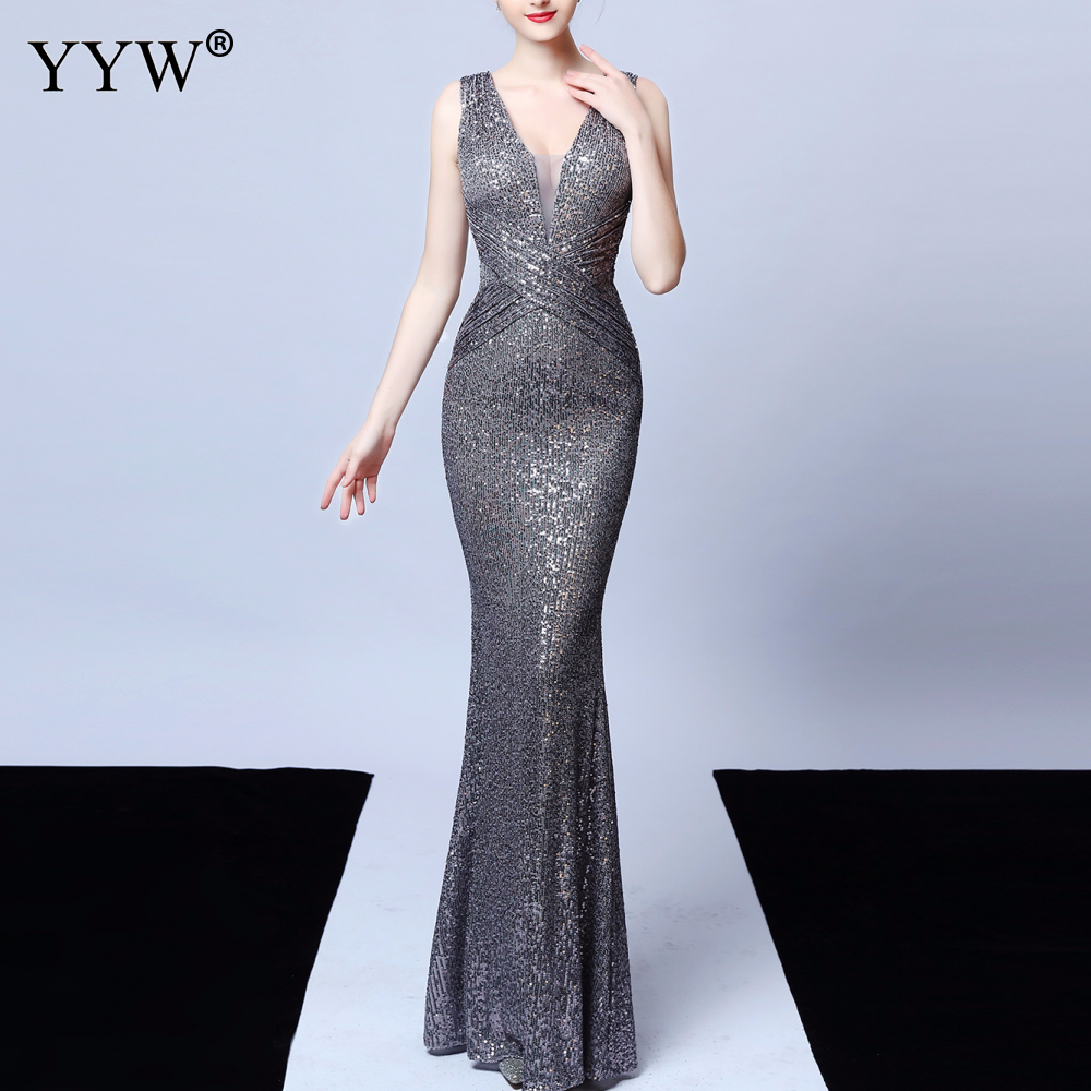 Women Elegant Sequined Evening Dress Deep V Neck Backless Sexy Robe De Soiree2019 Female Sleeveless Ladies Mermaid Party Dress