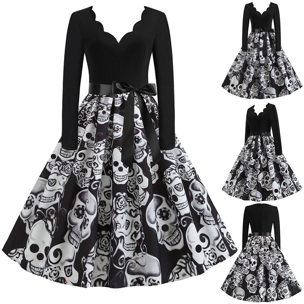 Vintage Women Dress Long Sleeve Print Halloween Dress s Housewife Robe High Waist Autumn Winter Casual