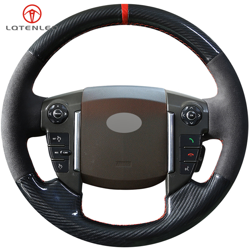 LQTENLEO Carbon Fiber Black Suede DIY Hand-stitched Car Steering Wheel Cover For Land Rover Freelander 2 2013-2015