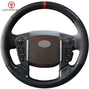 Lqtenleo fibra de carbono camurça preta diy mão-costurado volante do carro capa para land rover freelander 2 2013-2015