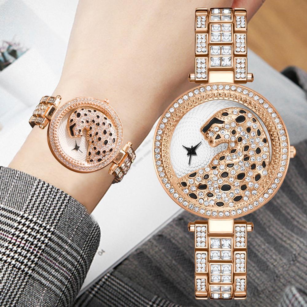 Lvpai Women Quartz Watch Fashion Bling Casual Ladies Watch Female Quartz Gold Watch Crystal Diamond Leopard For Women Clock
