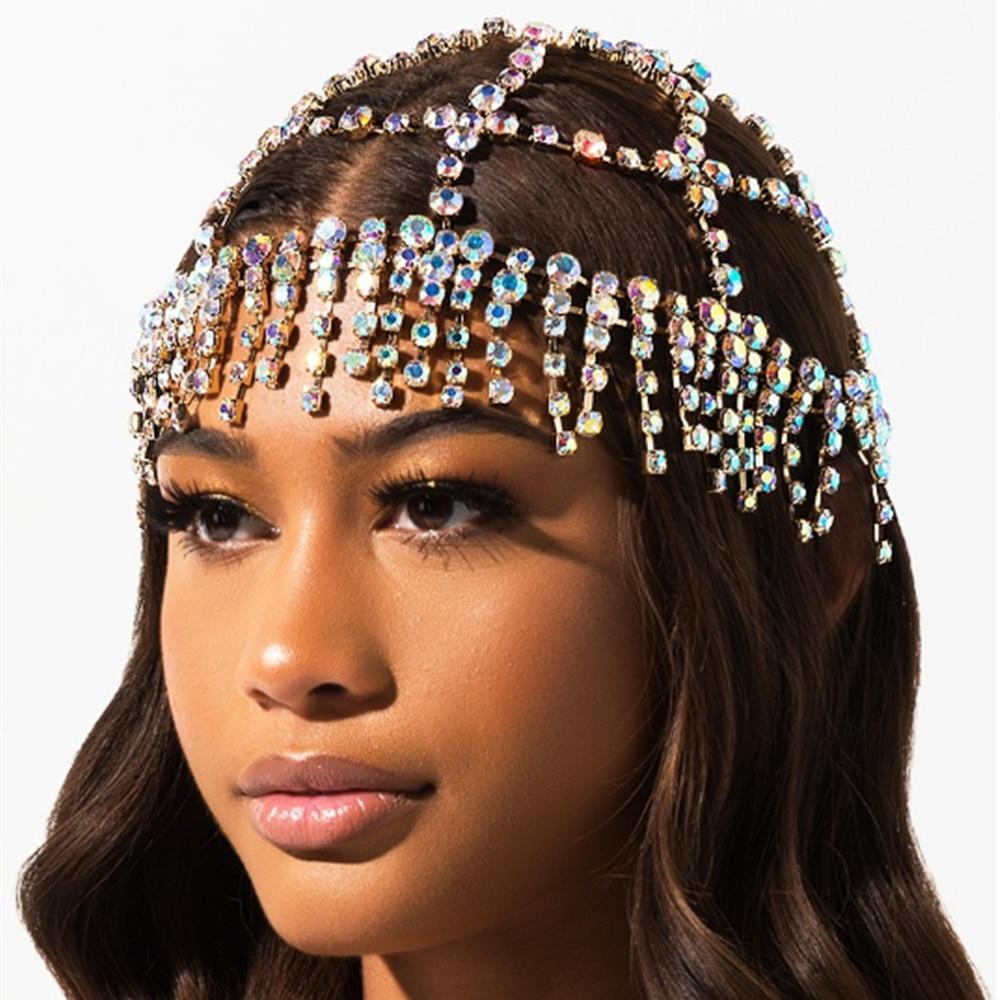 Diadema de diamantes de imitación de lujo con borla para la cabeza de novia cadena para mujer hecha a mano piezas de cristal accesorios para la cabeza sombrero
