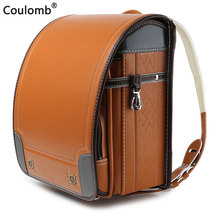 Coulomb Children Japan School Bag For Boys Kid Orthopedic Backpack Students Bookbags PU Randoseru Baby Bags 2019 New Waterproof Comfortable Protection of the Spine Japanese