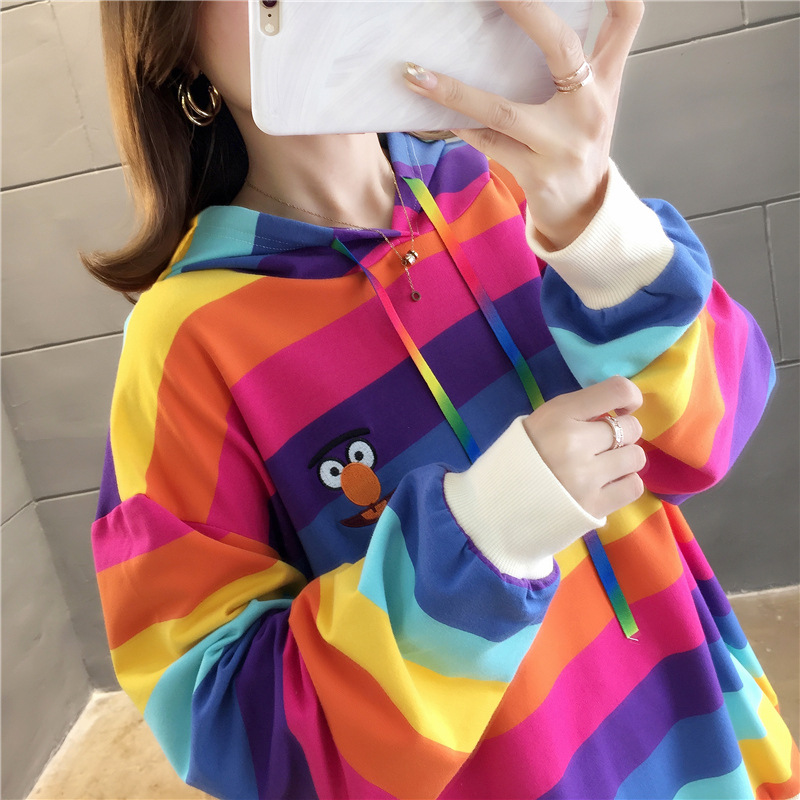 2019 Winter Sweatshirt Rainbow Harajuku Matching Ladies Hoodie Loose Large Size Long Sleeve Ropa Kpop Female Top Clothes Itself